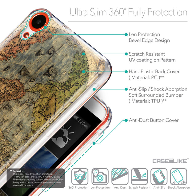 Details in English - CASEiLIKE HTC Desire 820 back cover World Map Vintage 4608