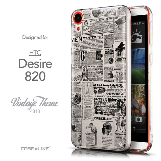 Front & Side View - CASEiLIKE HTC Desire 820 back cover Vintage Newspaper Advertising 4818