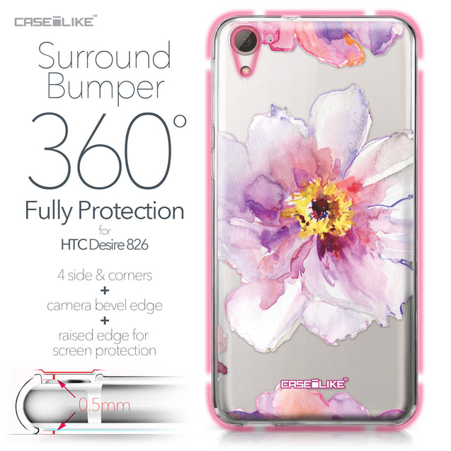 HTC Desire 826 case Watercolor Floral 2231 Bumper Case Protection | CASEiLIKE.com