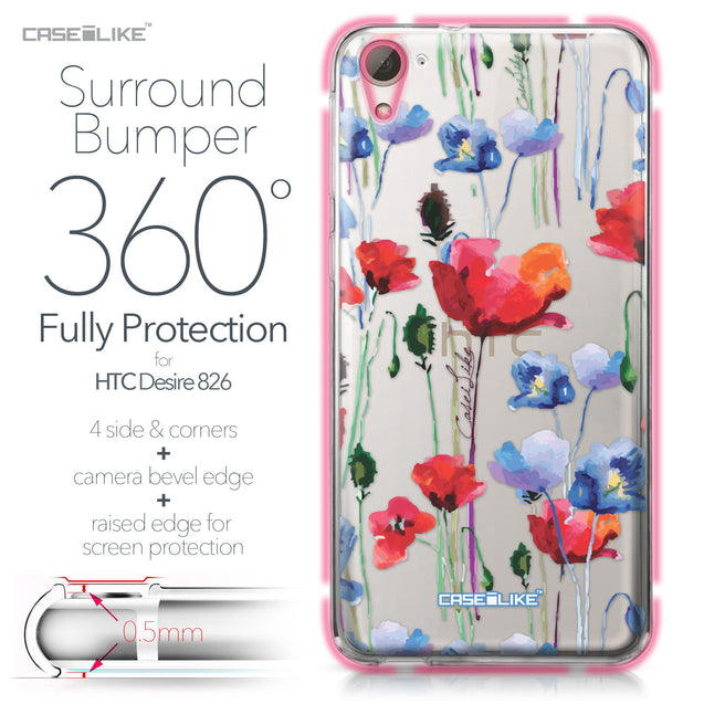 HTC Desire 826 case Watercolor Floral 2234 Bumper Case Protection | CASEiLIKE.com