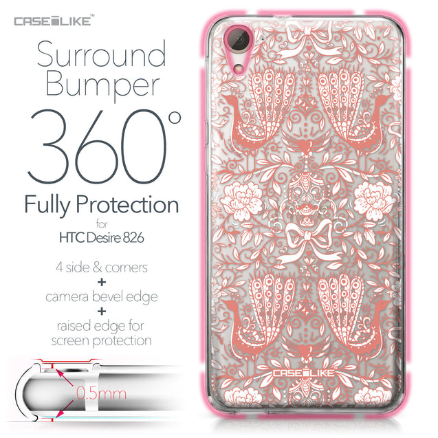 HTC Desire 826 case Roses Ornamental Skulls Peacocks 2237 Bumper Case Protection | CASEiLIKE.com