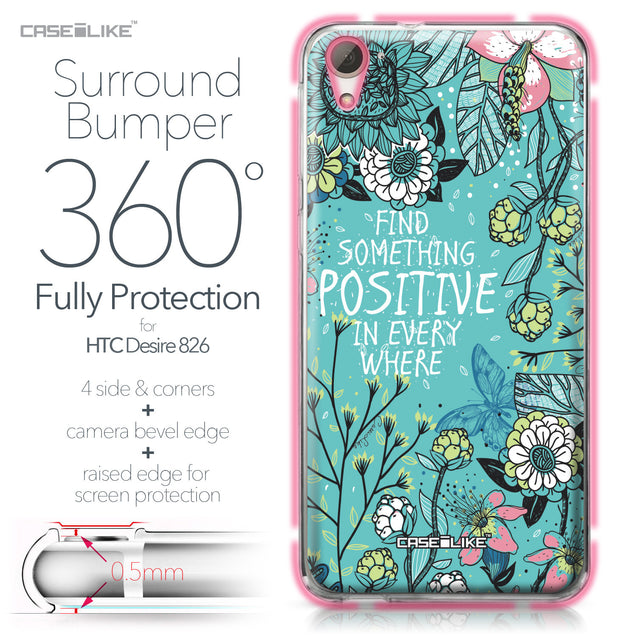 HTC Desire 826 case Blooming Flowers Turquoise 2249 Bumper Case Protection | CASEiLIKE.com