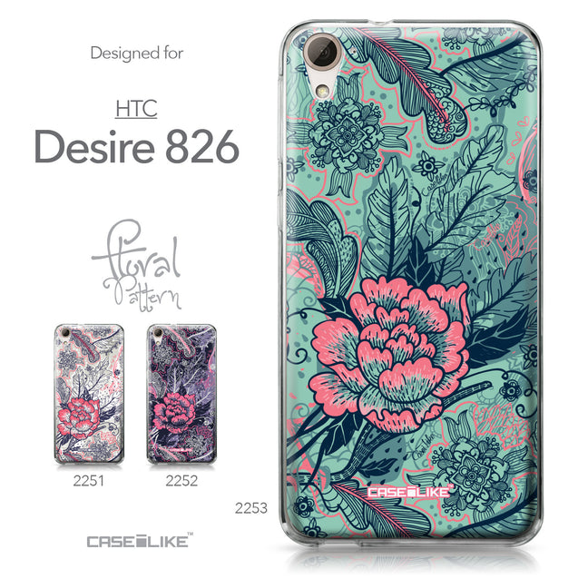 HTC Desire 826 case Vintage Roses and Feathers Turquoise 2253 Collection | CASEiLIKE.com