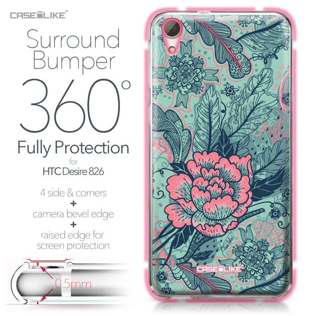 HTC Desire 826 case Vintage Roses and Feathers Turquoise 2253 Bumper Case Protection | CASEiLIKE.com