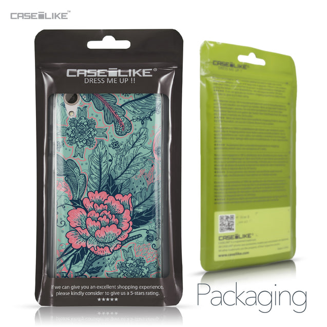 HTC Desire 826 case Vintage Roses and Feathers Turquoise 2253 Retail Packaging | CASEiLIKE.com