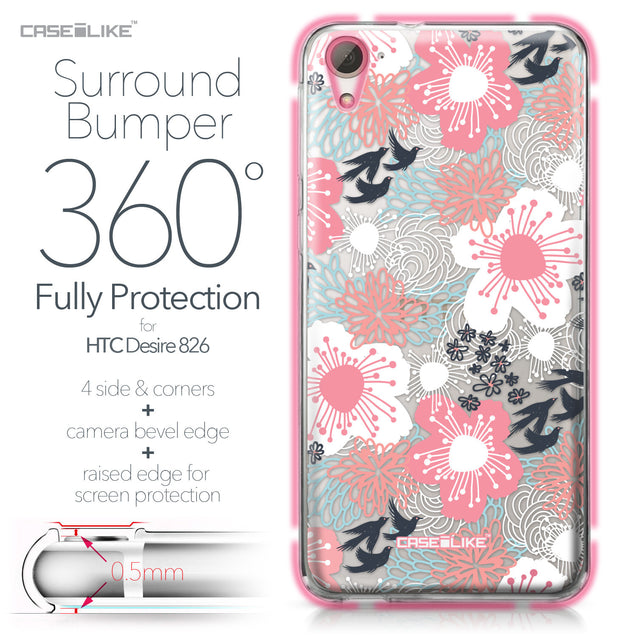 HTC Desire 826 case Japanese Floral 2255 Bumper Case Protection | CASEiLIKE.com