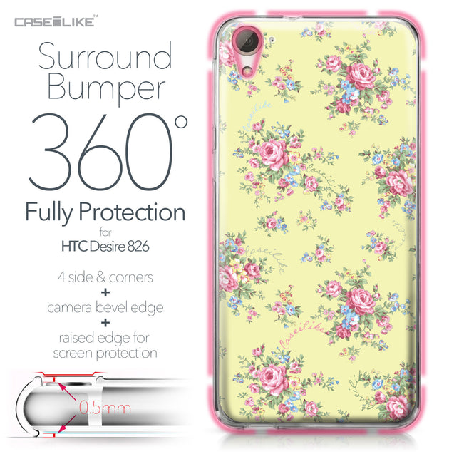 HTC Desire 826 case Floral Rose Classic 2264 Bumper Case Protection | CASEiLIKE.com