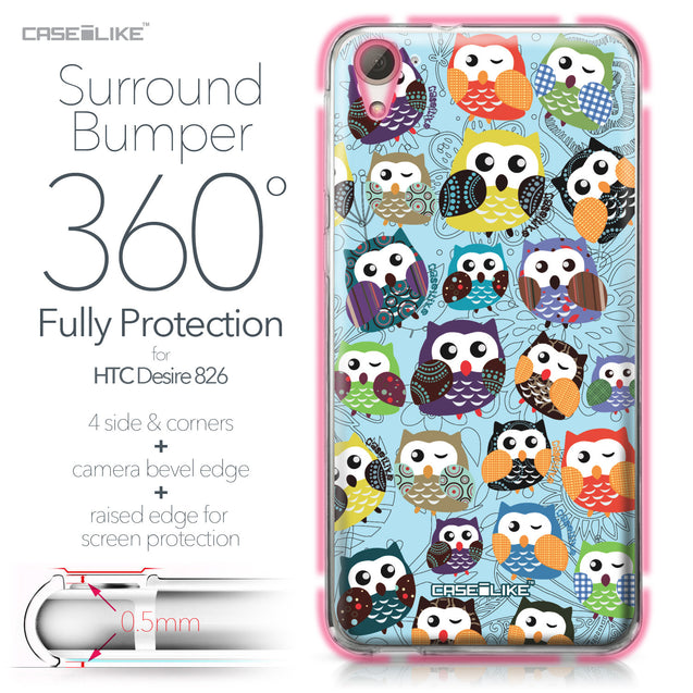 HTC Desire 826 case Owl Graphic Design 3312 Bumper Case Protection | CASEiLIKE.com