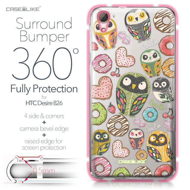 HTC Desire 826 case Owl Graphic Design 3315 Bumper Case Protection | CASEiLIKE.com
