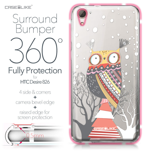 HTC Desire 826 case Owl Graphic Design 3317 Bumper Case Protection | CASEiLIKE.com
