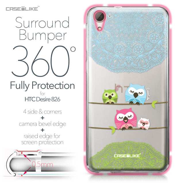 HTC Desire 826 case Owl Graphic Design 3318 Bumper Case Protection | CASEiLIKE.com