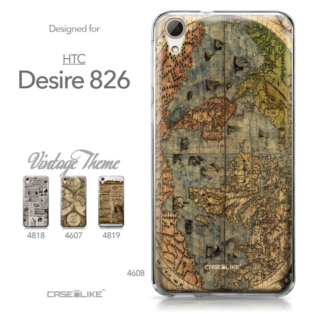 HTC Desire 826 case World Map Vintage 4608 Collection | CASEiLIKE.com