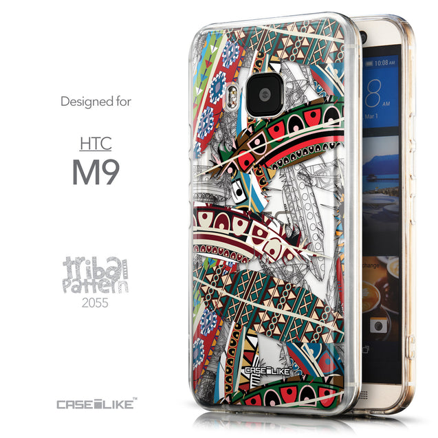 Front & Side View - CASEiLIKE HTC One M9 back cover Indian Tribal Theme Pattern 2055