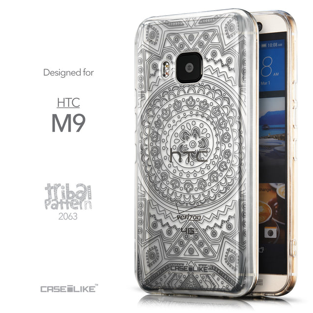 Front & Side View - CASEiLIKE HTC One M9 back cover Indian Line Art 2063