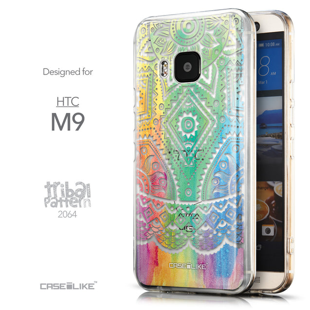 Front & Side View - CASEiLIKE HTC One M9 back cover Indian Line Art 2064