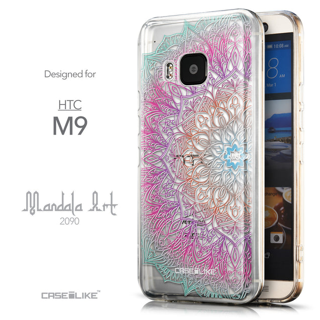 Front & Side View - CASEiLIKE HTC One M9 back cover Mandala Art 2090