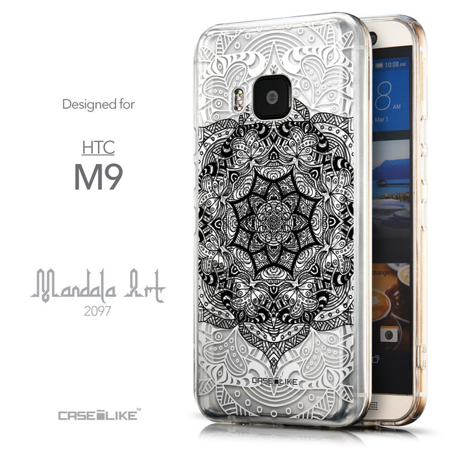 Front & Side View - CASEiLIKE HTC One M9 back cover Mandala Art 2097