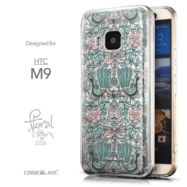 Front & Side View - CASEiLIKE HTC One M9 back cover Roses Ornamental Skulls Peacocks 2226