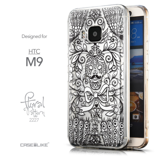 Front & Side View - CASEiLIKE HTC One M9 back cover Roses Ornamental Skulls Peacocks 2227