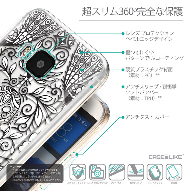 Details in Japanese - CASEiLIKE HTC One M9 back cover Roses Ornamental Skulls Peacocks 2227