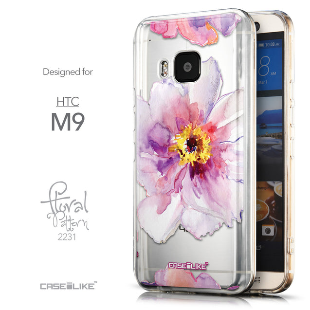 Front & Side View - CASEiLIKE HTC One M9 back cover Watercolor Floral 2231