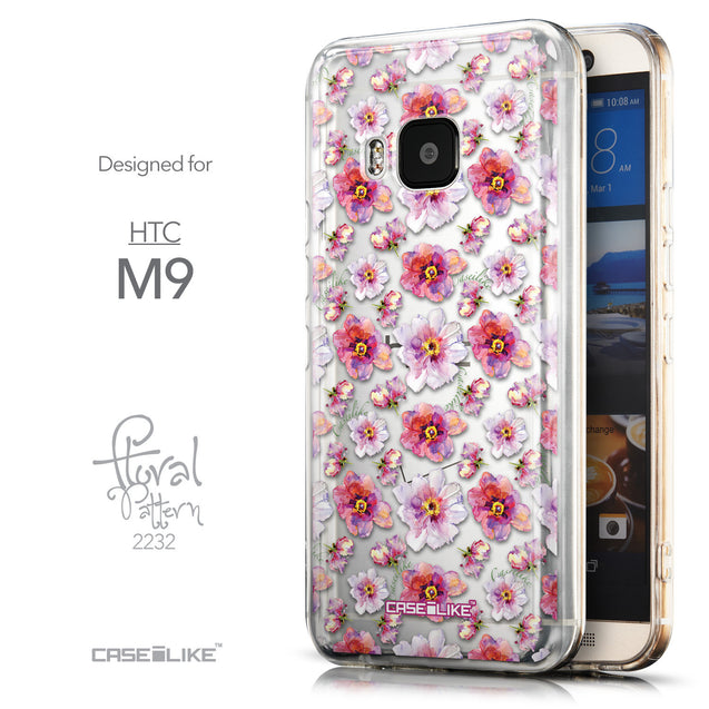 Front & Side View - CASEiLIKE HTC One M9 back cover Watercolor Floral 2232
