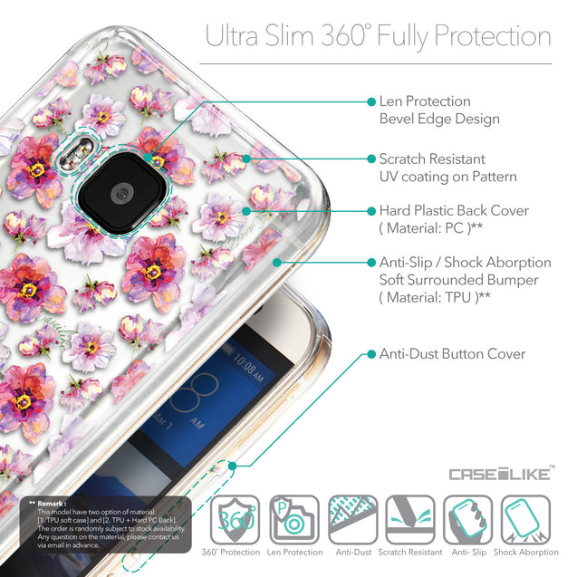 Details in English - CASEiLIKE HTC One M9 back cover Watercolor Floral 2232