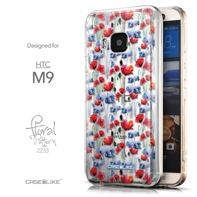 Front & Side View - CASEiLIKE HTC One M9 back cover Watercolor Floral 2233
