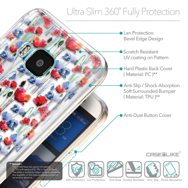 Details in English - CASEiLIKE HTC One M9 back cover Watercolor Floral 2233