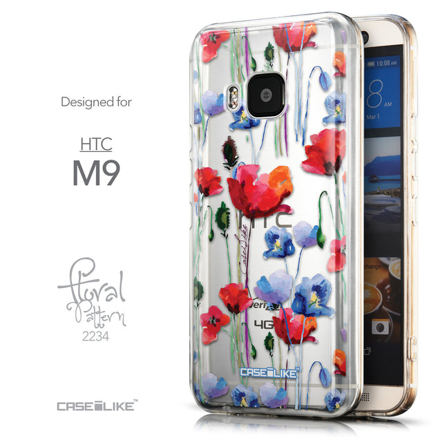 Front & Side View - CASEiLIKE HTC One M9 back cover Indian Line Art 2061