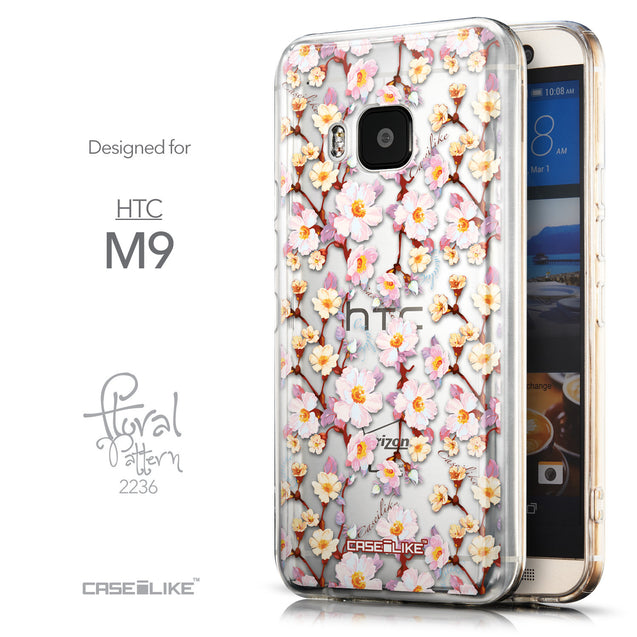 Front & Side View - CASEiLIKE HTC One M9 back cover Watercolor Floral 2236