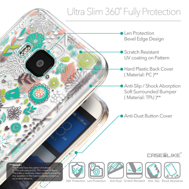 Details in English - CASEiLIKE HTC One M9 back cover Spring Forest White 2241
