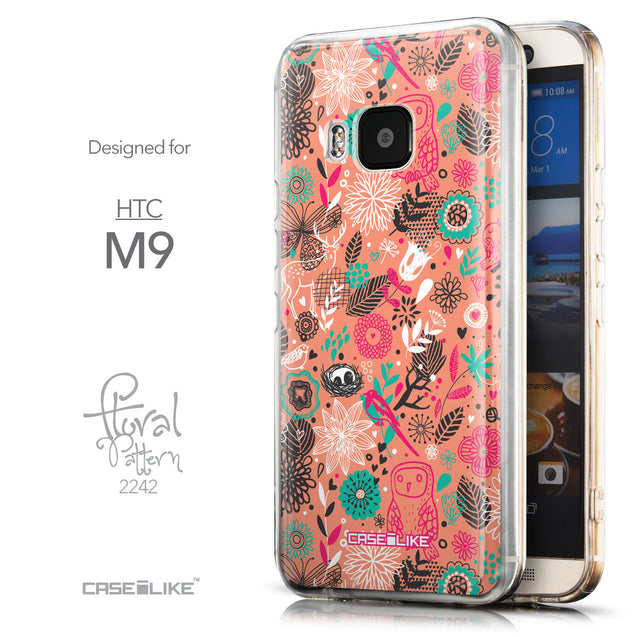 Front & Side View - CASEiLIKE HTC One M9 back cover Spring Forest Pink 2242
