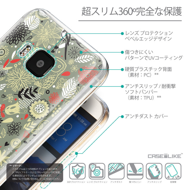 Details in Japanese - CASEiLIKE HTC One M9 back cover Spring Forest Gray 2243