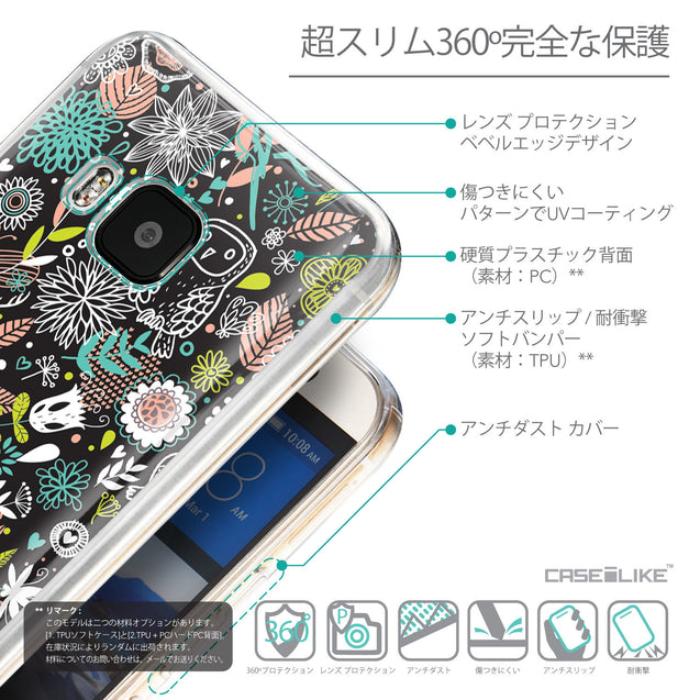 Details in Japanese - CASEiLIKE HTC One M9 back cover Spring Forest Black 2244