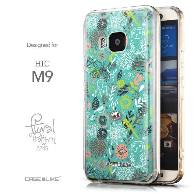 Front & Side View - CASEiLIKE HTC One M9 back cover Spring Forest Turquoise 2245