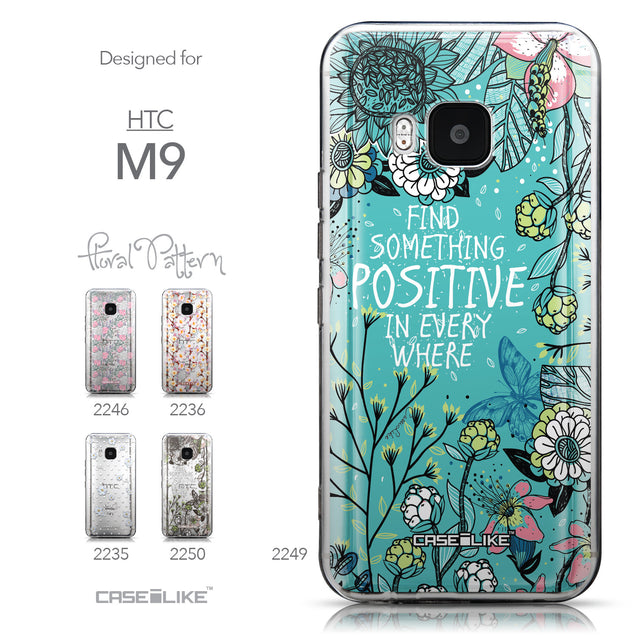 Collection - CASEiLIKE HTC One M9 back cover Blooming Flowers Turquoise 2249