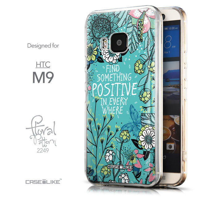 Front & Side View - CASEiLIKE HTC One M9 back cover Blooming Flowers Turquoise 2249