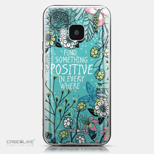 CASEiLIKE HTC One M9 back cover Blooming Flowers Turquoise 2249