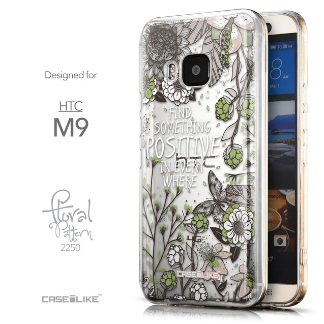 Front & Side View - CASEiLIKE HTC One M9 back cover Blooming Flowers 2250