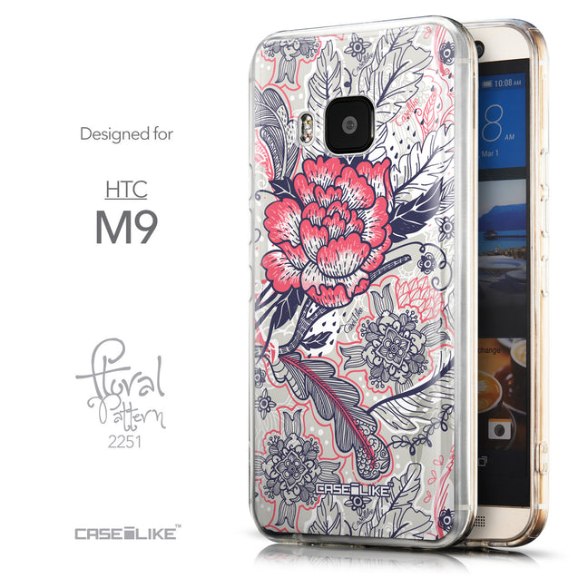 Front & Side View - CASEiLIKE HTC One M9 back cover Vintage Roses and Feathers Beige 2251