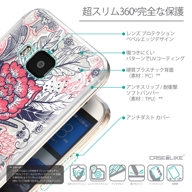Details in Japanese - CASEiLIKE HTC One M9 back cover Vintage Roses and Feathers Beige 2251