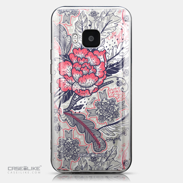 CASEiLIKE HTC One M9 back cover Vintage Roses and Feathers Beige 2251