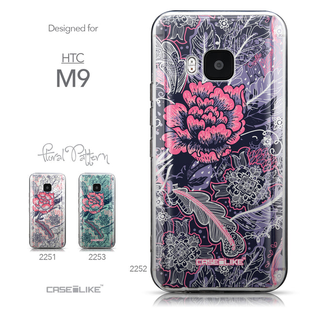 Collection - CASEiLIKE HTC One M9 back cover Vintage Roses and Feathers Blue 2252