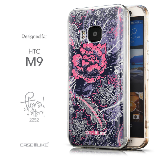Front & Side View - CASEiLIKE HTC One M9 back cover Vintage Roses and Feathers Blue 2252