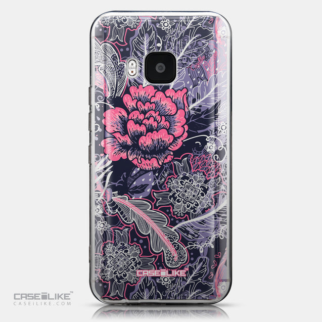 CASEiLIKE HTC One M9 back cover Vintage Roses and Feathers Blue 2252
