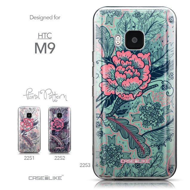 Collection - CASEiLIKE HTC One M9 back cover Vintage Roses and Feathers Turquoise 2253