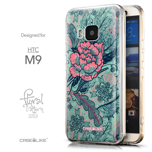 Front & Side View - CASEiLIKE HTC One M9 back cover Vintage Roses and Feathers Turquoise 2253