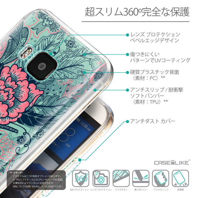 Details in Japanese - CASEiLIKE HTC One M9 back cover Vintage Roses and Feathers Turquoise 2253