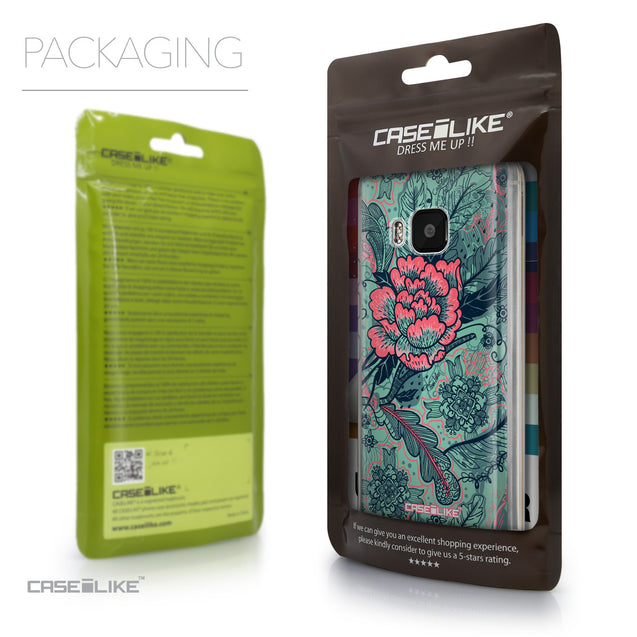 Packaging - CASEiLIKE HTC One M9 back cover Vintage Roses and Feathers Turquoise 2253